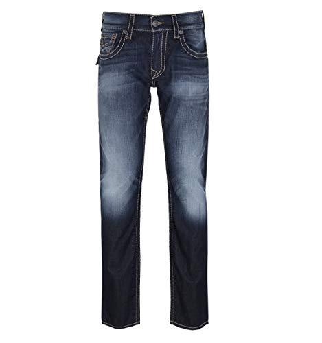 True Religion Men's Ricky Big T Straight Leg Jean with Back Flap Pockets, Dragons Lair, 31W X 34L