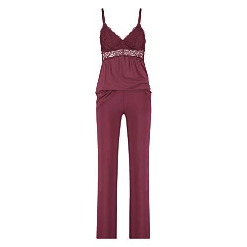 HUNKEMÖLLER Pyjama-Set Vera Lace Rot 2XS