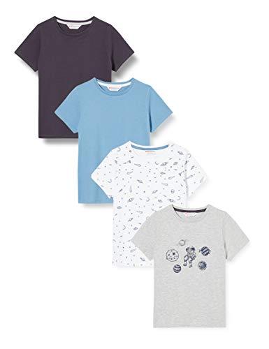 Amazon-Marke: RED WAGON Jungen Slogan-T-Shirt mit rundem Ausschnitt, 4er-Pack, Mehrfarbig (Space), 104, Label:4 Years