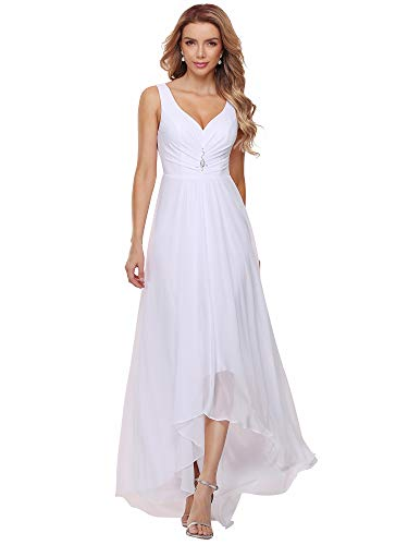Ever-Pretty Womens Modern Double V-Neck Sleeveless Rhinestones Ruched Bust High Low White Minimalist Wedding Dress 12UK