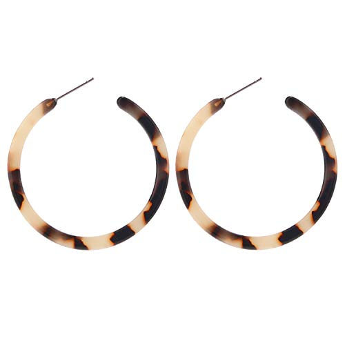 BaubleStar Tortoise Shell Resin Hoop Earrings Acrylic Round Circle Dangle Blond Amber Ear Drops Fashion Jewelry for Women Girls B0106BT