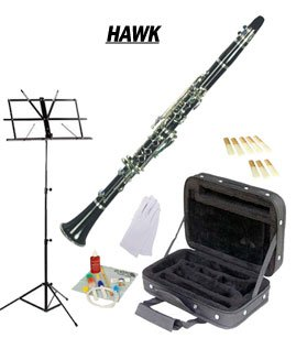 Hawk Black Bb Clarinet Package with Case Reeds Music Stand & Cleaning Kit WD-C211-BK-PACK