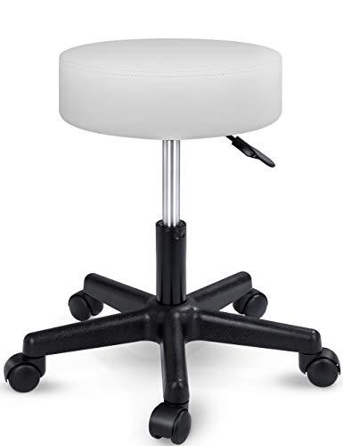 TRESKO Rollhocker höhenverstellbar Weiß | Drehhocker 10 cm Dicke Polsterung | Arbeitshocker 360° drehbar | Hocker