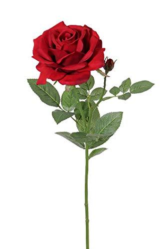 artplants.de Künstliche Rose Janine, rot, Deluxe, 70cm, Ø 12cm - Künstliche Blume - Deko Rose