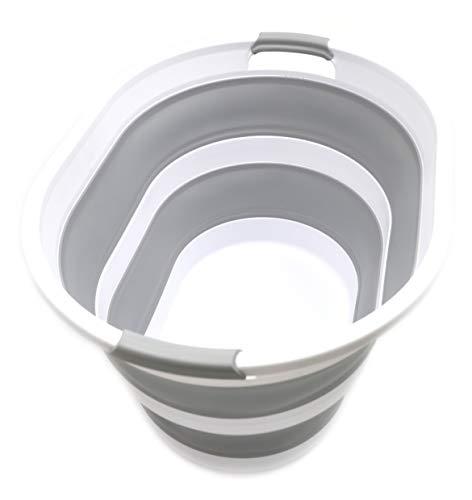 SAMMART Cesta plegable de plástico para la colada – Cesta ovalada – Contenedor de almacenamiento plegable – Bañera portátil – Cesto de lavandería para ahorrar espacio (1, gris)
