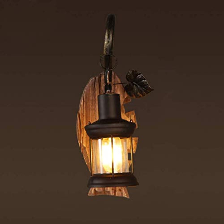 Sallypan Retro Nostalgic Holz Wandlampe American Persnlichkeits-Stil Dekoration Bar Restaurant Café Wall Light,Woodenfish
