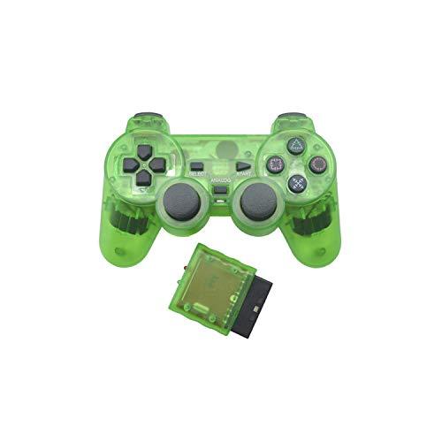 Game Controller Becher  Transparenter Farbcontroller für Sony Ps2 Wireless Bluetooth Controller 2.4G Vibrationskontrolle Gamepad für Playstation 2-Grün-