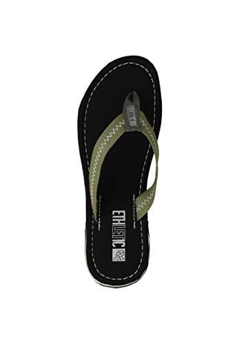 Ethletic Unisex Sandalen Fair Flip Classic Jet Black | Camping Green 46 Fair | Vegan | Nachhaltig