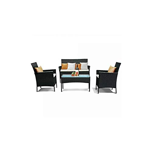 Juego de 4 muebles de jardín de ratán con cojines extraíbles lavables, 2 sillones, 1 sofá doble y 1 mesa