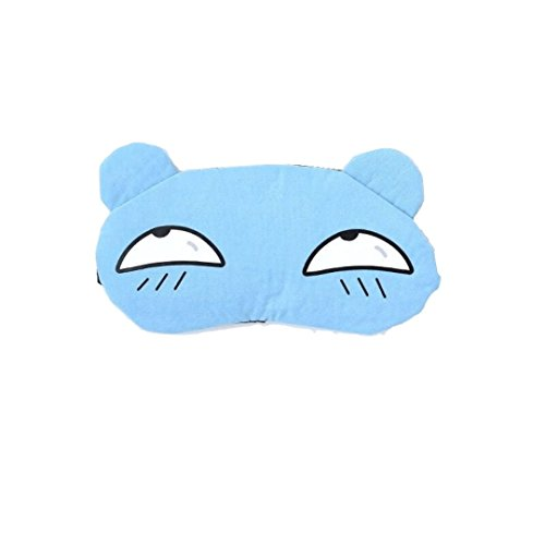 Masque de Sommeil, Masque de Nuit, Avec Gel de Glace Yeux Masque de Refroidissement Pour Le Dormir Voyage Thérapie à Froid/Chaud Anti-lumière pour Femme Enfants - Ours mignon Bleu