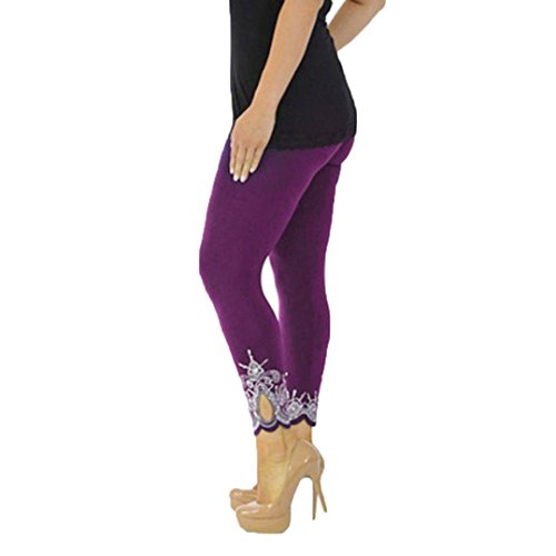 Lenfesh Leggings talla grande Deportivos de Cintura Alta de Tela Suave de Malla Pantalones de Yoga Elásticos para Mujer S-5XL (2XL, Púrpura)