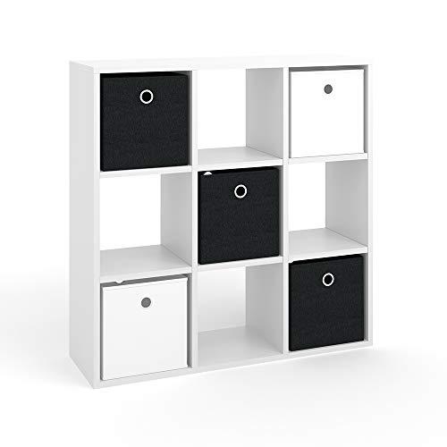 Vicco Raumteiler HYLDA inkl. Faltboxen Weiß Standregal Regal Bücherregal Büroregal (9 Fächer)