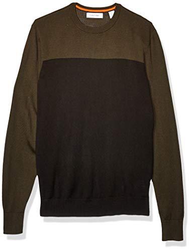 Calvin Klein Mens Merino Sweater Crew Neck, kale, X-Small