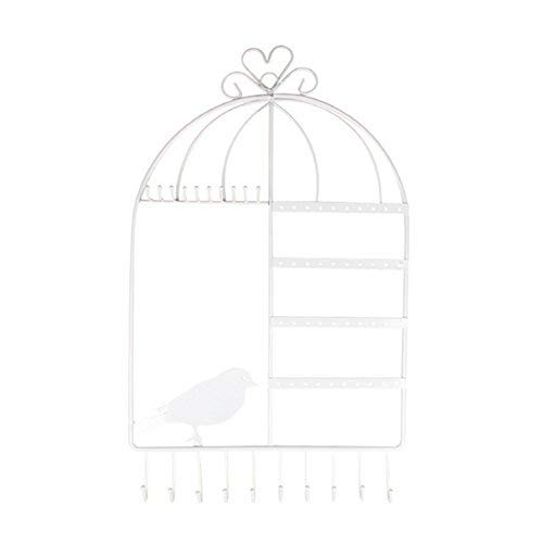 DAYNECETY Earrings Necklace Rack Organizer Key Rack Hanging Holder Necklace Bracelet Display Stand Wall Mount Bird Cage (White)