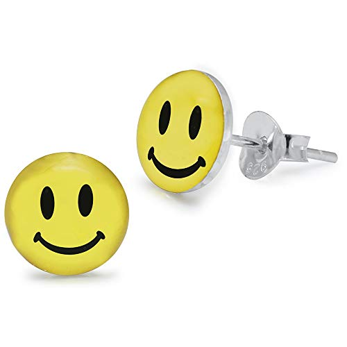 Smiley Face Logo Bild 925 Sterling Silber Ohrstecker