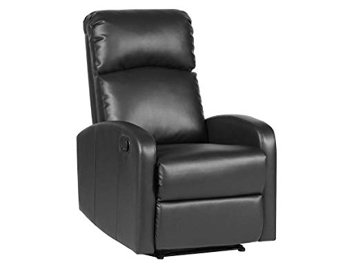EVRE Recliner Arm Chair with Adjustable Leg Rest and Reclining Functions - PU Leather (Black)