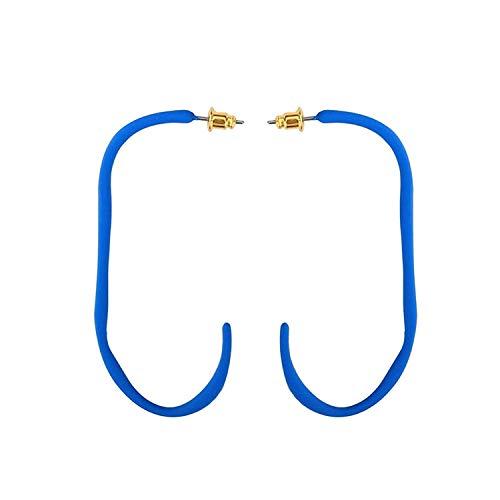 OUHUI Joyas de novedad: Pendientes de tuerca chapados en oro con forma de gancho azul 62X30Mm arete