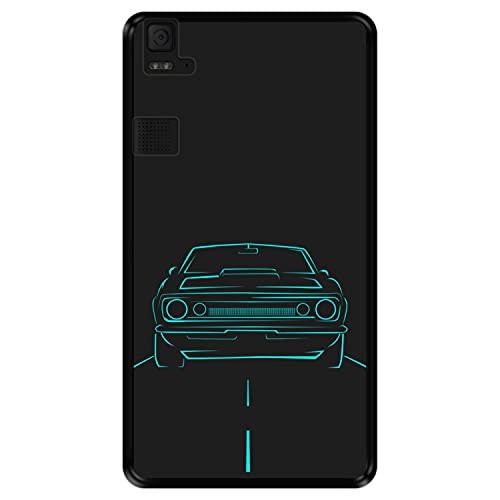 Hapdey silikon Hülle für [ Bq Aquaris E6 ] Design [ Auto rollt die Autobahn hinunter ] Schwarze Flexibles TPU