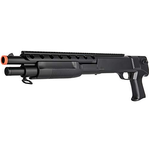 BBTac Airsoft Shotgun M309 Pump Action - Tactical Airsoft Shotgun, Weaver Top Rail, Removeable Clip, Powerful 445 Fps with 6mm BBS