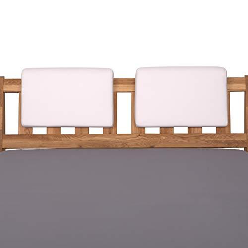 Staboos 2er Set Leder Polsterkissen, Steckkissen für Bettkopfteil zum einhängen, Rückenlehne für Bett mit Kopfteil, SK01 (Weiss)