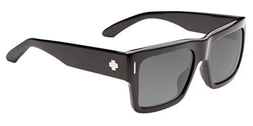 SPY Optic Bowery, Square Sunglasses, Color and Contrast Enhancing Lenses, Black - Gray Polarize Lenses