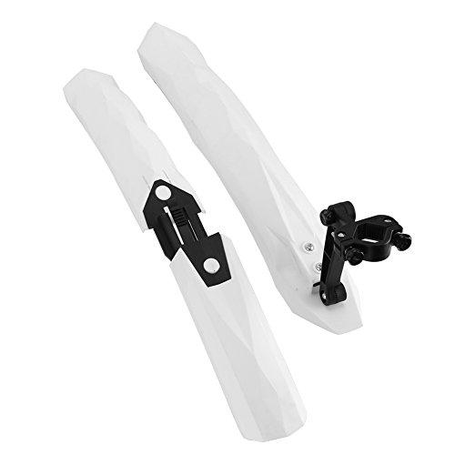 Yagosodee Guardabarros para bicicleta de montaña Set Guardabarros delantero y trasero con luz trasera LED (blanco)