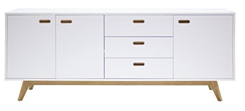 Tenzo BESS Buffet 3 portes, 3 tiroirs, Chêne, Blanc, 82 x 200 x 43 cm (HxLxP)
