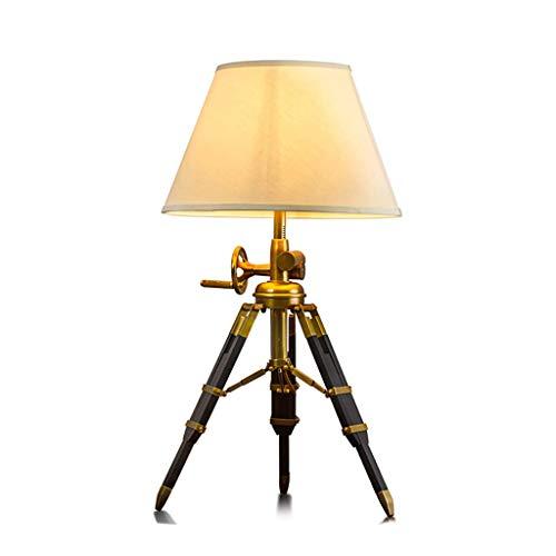 Lámpara de mesa para dormitorio, lámpara de mesa de cobre creativa retro, luz decorativa y luz
