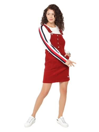Tommy Jeans Damen Crossback Dungaree Dress Kleid, Weinrot, S