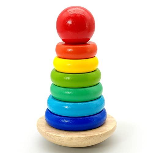 Euyecety Pirámide Balanceante Apilador Geométrico, Juguetes de Madera Juguetes de Desarollo Juguete Clásico de Apilar, Regalo para 1 2 3 4 5 Años Niñas Niños, Juguetes Montessori Educativos Bebe