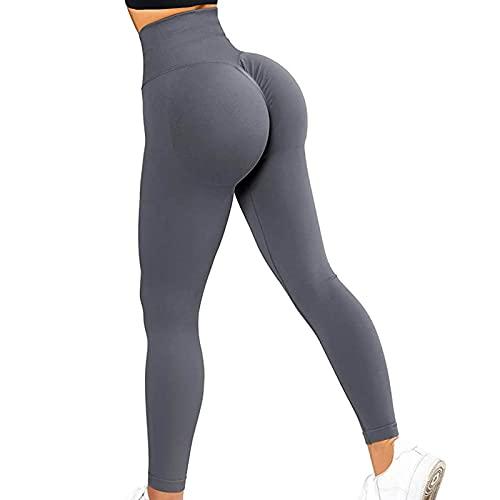 Leggings de entrenamiento para mujer, cintura alta, gimnasio, fitness, correr, control de barriga, pantalones básicos de yoga, gris, XL