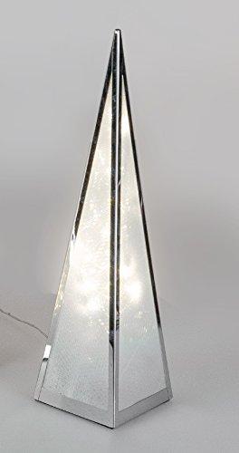 Formano Pyramide mit Beleuchtung Drehmotor und Stern-Folie Metall Silber Beleuchtete Weihnachten Winterdeko (45 cm)