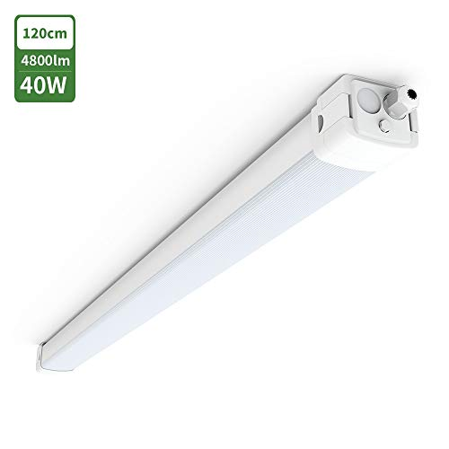 LED Feuchtraumleuchte Deckenleuchte 120CM 40W mit 4800 LM für Garage Keller Werkstatt, Tonffi LED Feuchtraumlampe Röhre, Tageslicht 4000K-4500K Wasserfest IP66