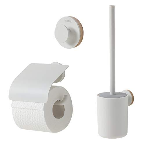 Tiger Urban Badaccessoire-Set, Edelstahl, Weiß, 3-teilig, bestehend aus Toilettenpapierhalter mit Deckel, Haken und WC-Bürste, mit austauschbaren Dekor-Ringen zur individuellen Gestaltung