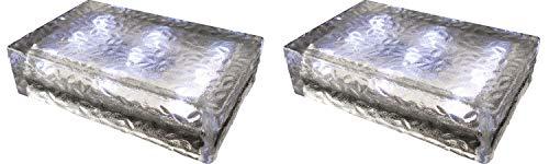 2 pezzi FUCHS Mattonella Solare LED Vetro bianco freddo 23x15x6 cm – per l\'illuminazione del percorso (antiscivolo)