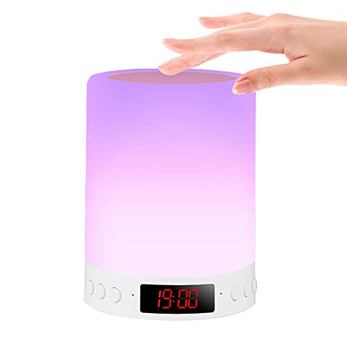 Luz Nocturna de LED,Altavoz Bluetooth Luz de Nocturna Lámpara de Mesita de Noche,7 colores regulable lámpara de cabecera con despertador,Control Tactil/reproductor deMP3/radio FM/USB Recargable