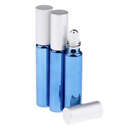 SDENSHI 3pcs Flacon Vide Verre D'huile Essentielle de Roll-on Liquid Container Bouteille de Parfum - Bleu royal