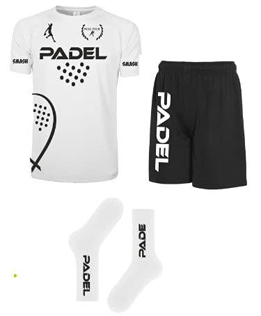 Kit Maglia Calzoncini Calze Fluo Padel t-Shirt Paddle World Smash Tennis Gara (Bianco/Nero, 50 L IT)