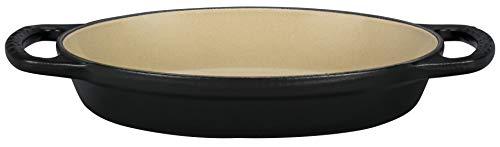 "Le Creuset Enameled Cast Iron Signature Oval Baker, 5/8 qt. (8""), Licorice (Sand Interior)"