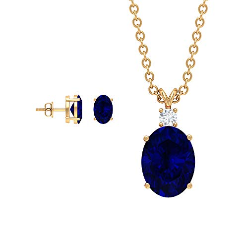 Juego de pendientes y collar de zafiro azul de 2,78 quilates, joyas de piedras preciosas azules ovaladas, pendientes de zafiro solitario, pendientes de piedra natal (calidad AAA) azul