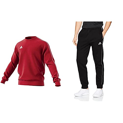 adidas Core 18 SS, Felpa Uomo, Rosso (Power Red/White), L & Core 18 S TSB, Pantaloni Uomo, Nero (Black/White), L
