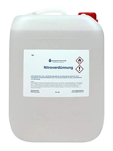 wiegeschmiert.de Nitroverdünnung (10 Liter) | Verdünner für Kunstharzlacke etc. | Reiniger für Pinsel, Werkzeuge etc.