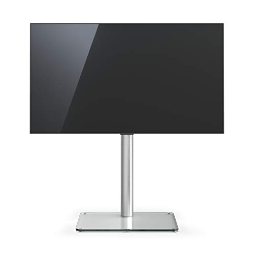 TV-Stand Spectral Just-Racks TV600 mit Glasboden in Klarglas. Höhe 96,8cm.
