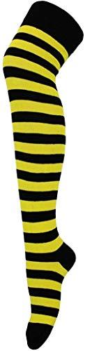 XZM Calcetines Altos a Rayas para Mujer sobre la Rodilla Disfraz, Bumblebee-Amarillo/Negro *, Talla nica