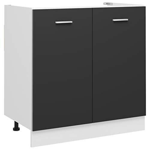 vidaXL Armario de Cocina Muebles Mobiliario Duradero Mesa de Trabajo Almacenamiento Cuencos Platos Ollas Alacena de Aglomerado Gris 80x46x81,5 cm