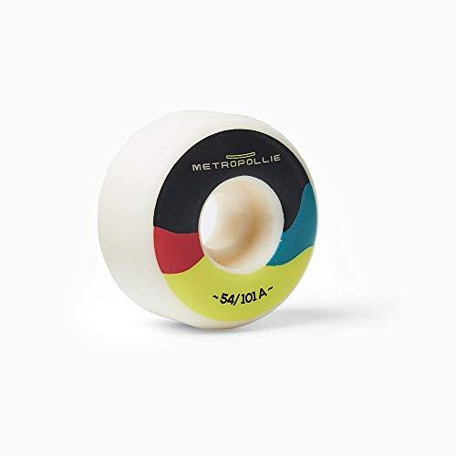 Metropollie 4 Ruedas de Skateboard Negro y Colores, Ruedas Premium 100% Uretano 54MM diametro 101A dureza, para Niños Niñas Adolescentes Adultos Principiantes., Normal