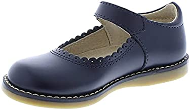 FOOTMATES Allie Leather Mary Jane Girls Party Dress Hard Bottom Shoes with Custom-Fit Insoles, Slip-Resistant Non-Marking Outsoles - Navy, 9 Toddler (1-4 Years)