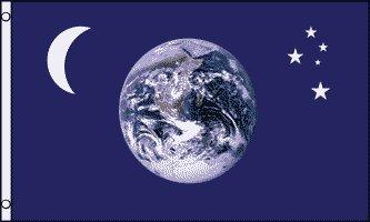 AZ FLAG Flagge Erde MOND UND Sterne 150x90cm - Earth Fahne 90 x 150 cm - flaggen Top Qualität