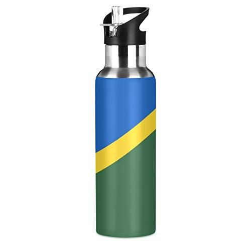 Botella de agua deportiva de acero inoxidable 304 con diseño de bandera de las Islas Salomon, botella de agua aislada al vacío con pajita (600 ml)
