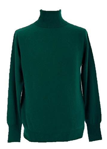 Shephe 4 Ply Men's Turtleneck Cashmere Sweater Kelly Green Medium